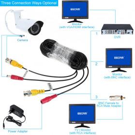 ESCAM BNC Cable for CCTV Security Camera 25M - Black - 4