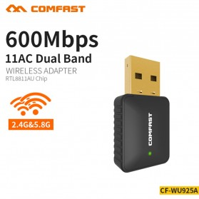 USB Wireless Receiver / Dongle - Comfast Wireless Receiver & Transmitter USB Dual Band 802.11ac 600Mbps - CF-WU925A - Black