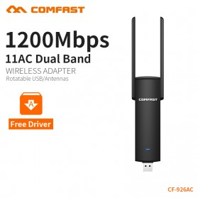 USB Wireless Receiver / Dongle - Comfast Wireless Receiver & Transmitter USB 3.0 Dual Band 802.11ac 1200Mbps - CF-926AC - Black