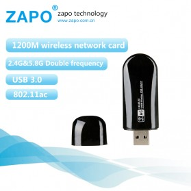 ZAPO W50S Mini USB Wireless Adapter 802.11AC 1200Mbps - RTL8812AU - Black
