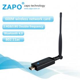 USB Wireless Receiver / Dongle - ZAPO W67L-5DB USB Wireless Adapter 802.11AC 450Mbps with Bluetooth 4.0 - Black