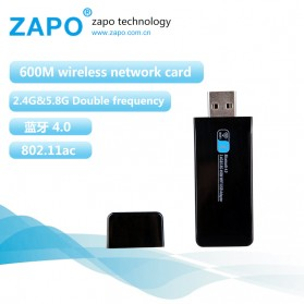 ZAPO W67B USB Wireless Adapter 802.11AC 600Mbps with Bluetooth 4.0 - Black