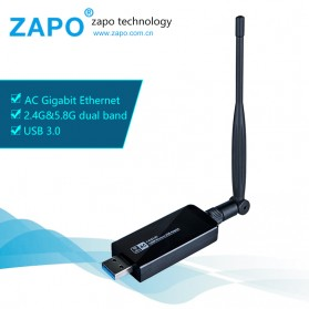 ZAPO W50L-5DB USB Wireless Adapter 802.11AC 1200Mbps - RTL8812AU - Black