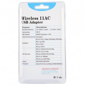 ZAPO W50L-5DB USB Wireless Adapter 802.11AC 1200Mbps - RTL8812AU - Black - 11