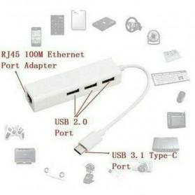 USB Type-C Lan Adapter with 3 Port USB Hub - White - 5