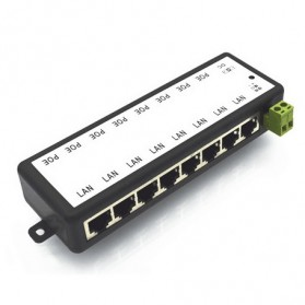 Passive PoE Injector 8 Port 48V 2A 96W - Black - 8