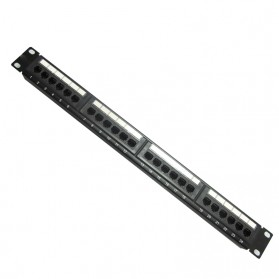 Komputer Server - Cat5e Pro RJ45 Patch Panel 24 Port for 1U 19 Inch Server Rack - Black