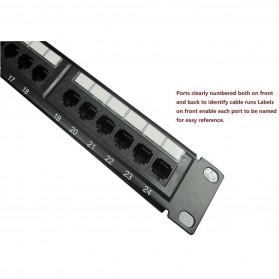 Cat5e Pro RJ45 Patch Panel 24 Port for 1U 19 Inch Server Rack - Black - 3