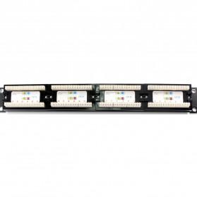Cat5e Pro RJ45 Patch Panel 24 Port for 1U 19 Inch Server Rack - Black - 5