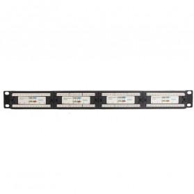 Cat5e Pro RJ45 Patch Panel 24 Port for 1U 19 Inch Server Rack - Black - 6