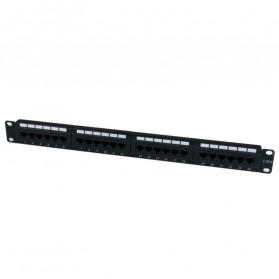Cat5e Pro RJ45 Patch Panel 24 Port for 1U 19 Inch Server Rack - Black - 7