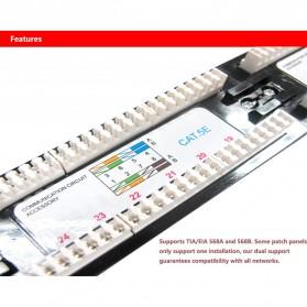 Cat5e Pro RJ45 Patch Panel 24 Port for 1U 19 Inch Server Rack - Black - 8
