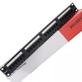 Cat5e Pro RJ45 Patch Panel 24 Port for 1U 19 Inch Server Rack - Black - 9
