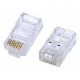 SAP Netconnect Modular Plug RJ45 Standard Body Solid 5-554720-5 LAN Connector Network - 1 Pcs - Transparent