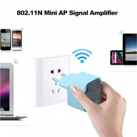 Mini Wifi Repeater AP 300Mbps Extender 2.4Ghz EU Plug - WD-R609U - Blue