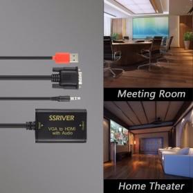 Kabel Adapter Converter VGA to HDMI 1080P with Audio Port - VAA-V09 - Black - 3