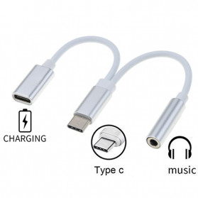 Robotsky Adapter 2 in 1 USB Type C to AUX 3.5mm Headphone + USB Type C - S-K07 - Silver - 3