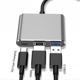 Comfast Adapter Multiport USB Type C ke USB 3.0 + USB Type C + HDMI - HW-TC34 - Gray - 2