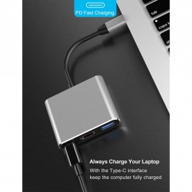 Comfast Adapter Multiport USB Type C ke USB 3.0 + USB Type C + HDMI - HW-TC34 - Gray - 3