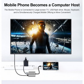 Comfast Adapter Multiport USB Type C ke USB 3.0 + USB Type C + HDMI - HW-TC34 - Gray - 5
