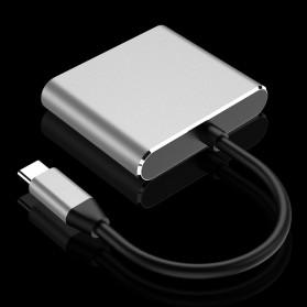 Comfast Adapter Multiport USB Type C ke USB 3.0 + USB Type C + HDMI - HW-TC34 - Gray - 7
