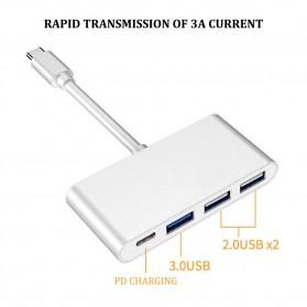 Comfast Adapter USB Type C ke 1xUSB 3.0 + 2xUSB 2.0 + 1xUSB Type C - HW-TC32 - Gray
