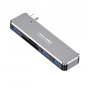 WIISTAR Adapter USB Type C ke 3 Port USB 3.0 SD/TF Card Reader- HW-TC25 - Gray