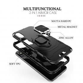 Kisscase Armor Hard Case with Ring Holder for iPhone XR - 147423 - Black - 8
