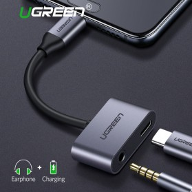 UGREEN Adapter USB Type C to AUX 3.5mm Headphone + USB Type C - Black