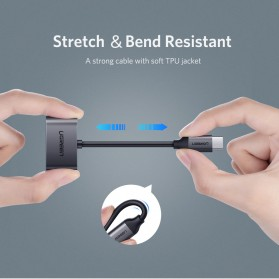 UGREEN Adapter USB Type C to AUX 3.5mm Headphone + USB Type C - 50596 - Black - 7