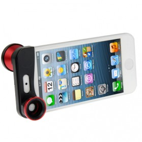 Lesung Lensa Fisheye 3 in 1 Quick Change Camera for iPhone 5/5s/SE - LX-S001 - Red - 3