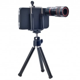 Lesung Telephoto Lens Kit 8X Zoom Magnifier Micro Telephoto Lens + Case + Pouch + Tripod for iPhone 4 - LX-T801 - Black