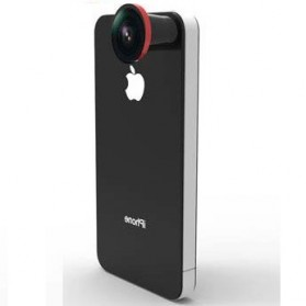 Hot Pano Super Fisheye Lens + Plastic Protective Case for iPhone 4/4S - Red
