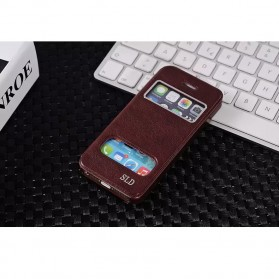 SULADA Smart Leather Case Window Series for iPhone 5/5s - Brown