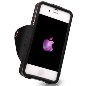 KASHIDUN Di Series Luxury Vintage PU Pouch Leather Case with Button for iPhone 4/4s - Black