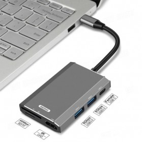 Remax Docking Station USB Type C Hub USB 3.0 + USB Type C + HDMI + Card Reader - RU-U30 - Gray - 2