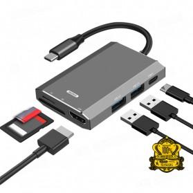 Remax Docking Station USB Type C Hub USB 3.0 + USB Type C + HDMI + Card Reader - RU-U30 - Gray - 3
