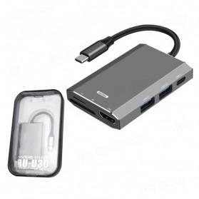Remax Docking Station USB Type C Hub USB 3.0 + USB Type C + HDMI + Card Reader - RU-U30 - Gray - 5