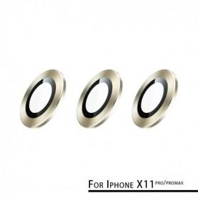Remax Creation Series Camera Ring Lens Protector Pelindung Kamera iPhone 11 Pro/Pro Max - GL-59 - Golden - 2