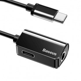 Baseus Adapter USB Type C to AUX 3.5mm Headphone + USB Type C - CATL40 - Black