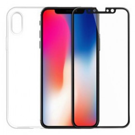 Hoco Light Series TPU Case & Tempered Glass for iPhone X - Transparent