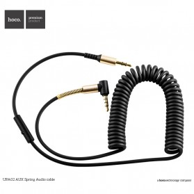 Hoco UPA02 Spring AUX Flexible Cable 3.5mm 2 Meter with Mic - Black