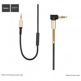 Hoco UPA02 Spring AUX Flexible Cable 3.5mm 2 Meter with Mic - Black - 3