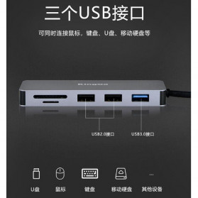 KingMa USB Type C Adapter Hub 7 in 1 USB 3.0 + USB Type C + HDMI + Card Reader - BMU012 - Silver - 7