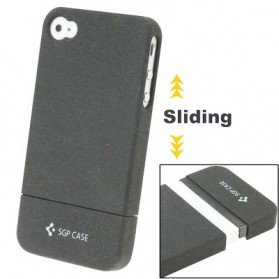 SGP Series Sliding Frosted Plastic Back Cover for iPhone 4 & 4S - Black