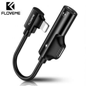 Floveme 2 in 1 Audio Converter Lightning to 3.5mm with Charger Port - WQ145826 - Black