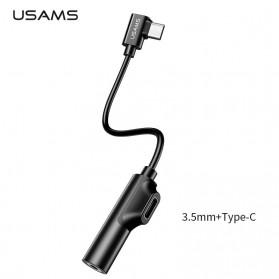 Jual Aksesoris Tablet & Smartphone - USAMS Adapter USB Type C to AUX 3.5mm Headphone + USB Type C - SJ248 - Black