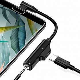 USAMS Adapter USB Type C to AUX 3.5mm Headphone + USB Type C - SJ248 - Black - 2