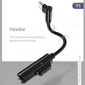 USAMS Adapter USB Type C to AUX 3.5mm Headphone + USB Type C - SJ248 - Black - 3