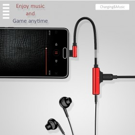 USAMS Adapter USB Type C to AUX 3.5mm Headphone + USB Type C - SJ248 - Black - 4